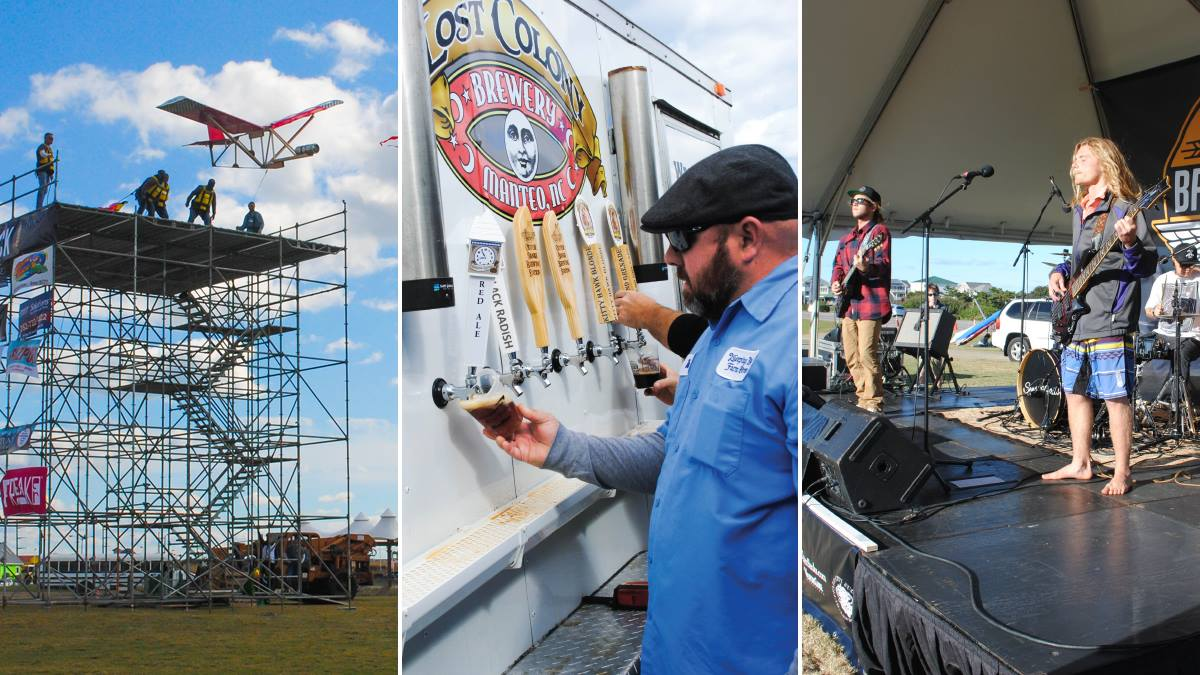 Keg flying competition, beer taps, and live music