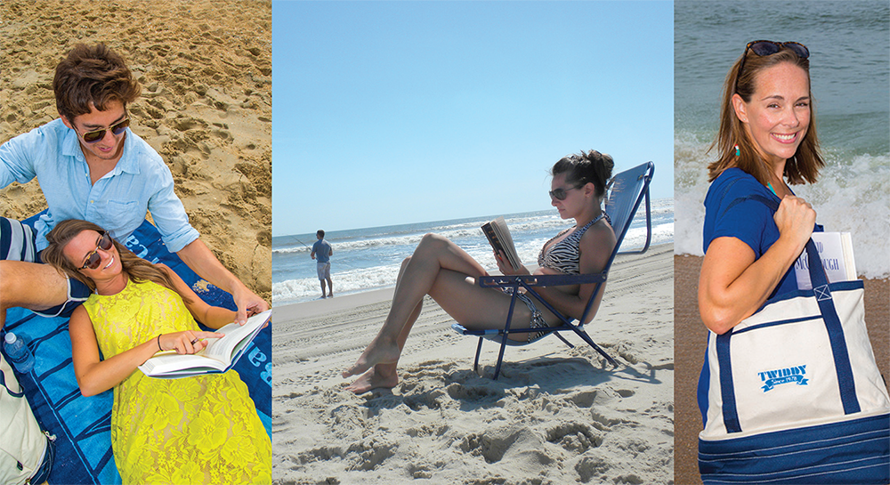 beach reading collage