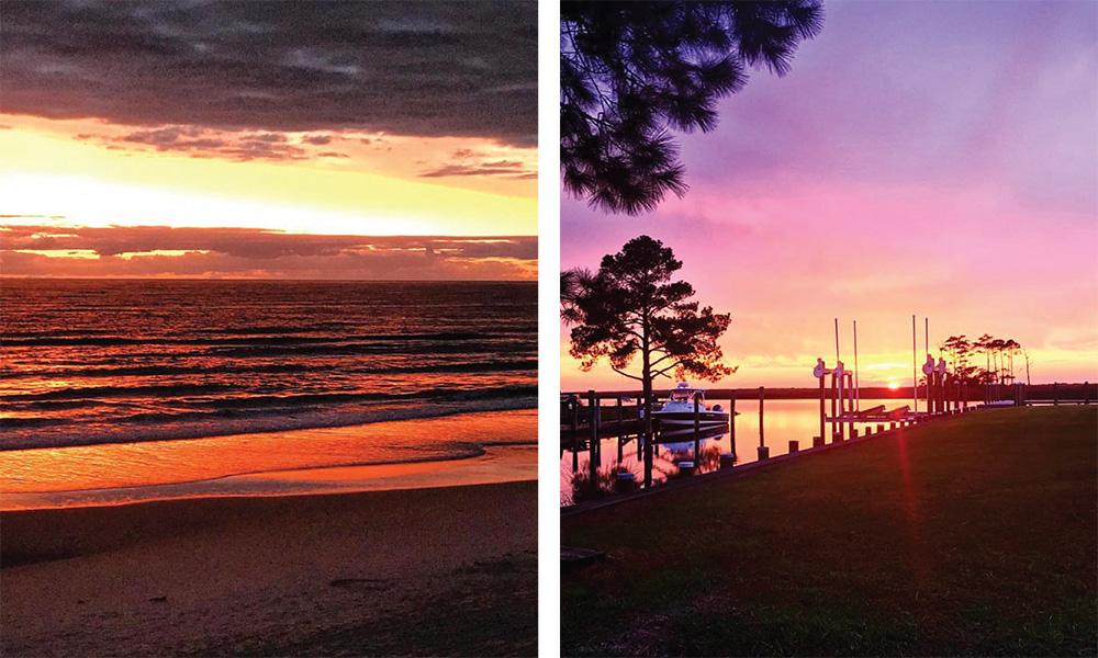 Fall sunrise and sunset