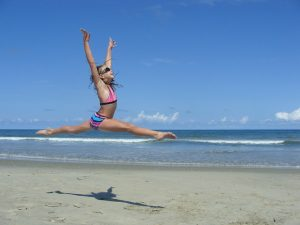 Jump Split on Beach
