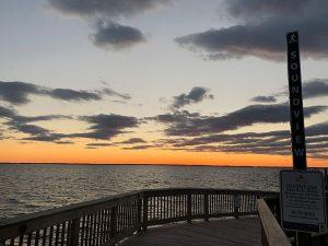 duck boardwalk sunset