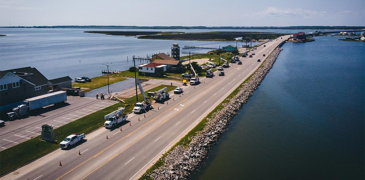 power trucks after hurricane
