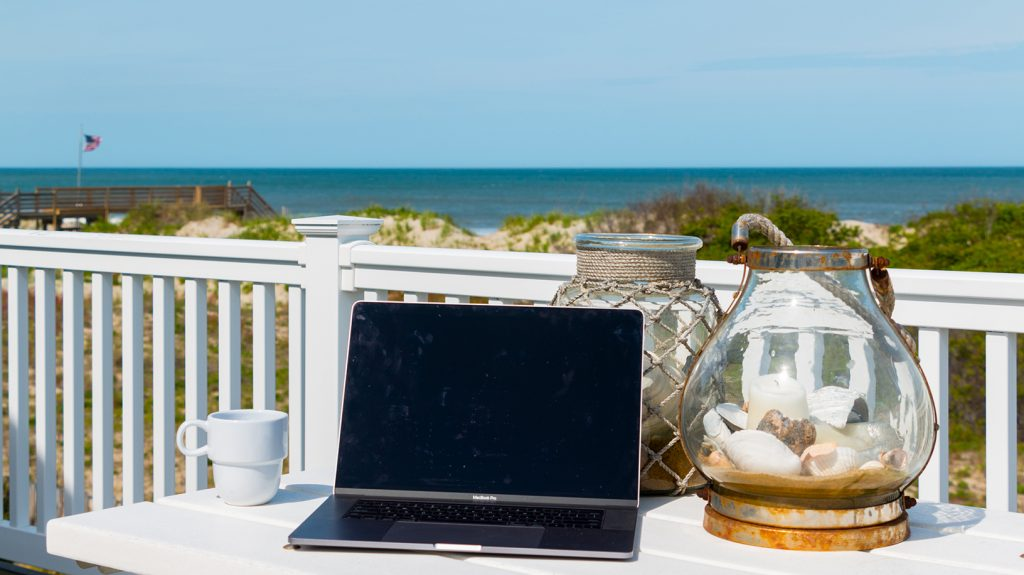 work remotely from the beach