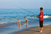 Beach Surf Fishing with Family